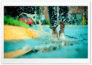 Jumping In A Rain Puddle HD Wide Wallpaper for 4K UHD Widescreen desktop & smartphone