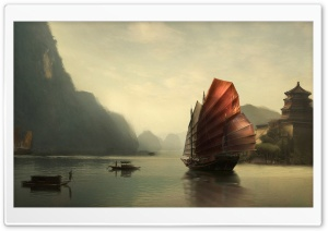 Junk Ship Chinese Painting HD Wide Wallpaper for 4K UHD Widescreen desktop & smartphone