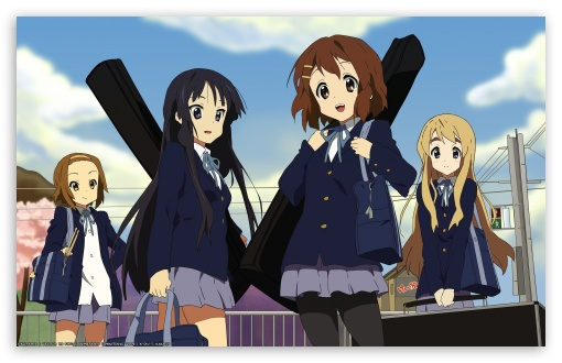 K ON! Akiyama Mio, Tainaka Ritsu, Hirasawa Yui And Kotobuki Tsumugi HD wallpaper for Wide 16:10 5:3 Widescreen WHXGA WQXGA WUXGA WXGA WGA ; Standard 3:2 Fullscreen DVGA HVGA HQVGA devices ( Apple PowerBook G4 iPhone 4 3G 3GS iPod Touch ) ; Mobile 5:3 3:2 - WGA DVGA HVGA HQVGA devices ( Apple PowerBook G4 iPhone 4 3G 3GS iPod Touch ) ;