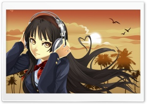 K ON! Mio Listening To Music HD Wide Wallpaper for Widescreen