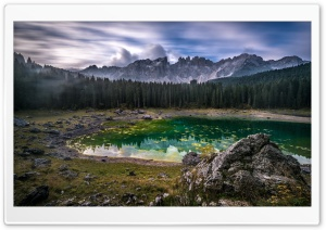 Karersee Lake, Dolomites mountain range, Italy HD Wide Wallpaper for 4K UHD Widescreen desktop & smartphone