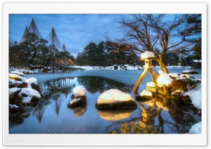 Kenrokuen Garden, Winter, Evening HD Wide Wallpaper for Widescreen