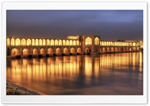 Khaju Bridge At Dusk, Isfahan, Iran HD Wide Wallpaper for Widescreen