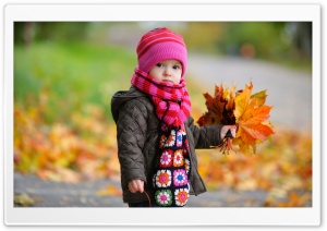 Kid With Yellow Leaves HD Wide Wallpaper for Widescreen