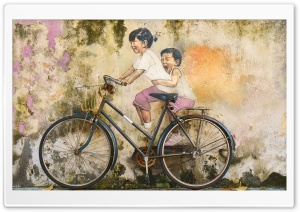 Kids Bicycle a Riding Graffiti Art HD Wide Wallpaper for 4K UHD Widescreen desktop & smartphone