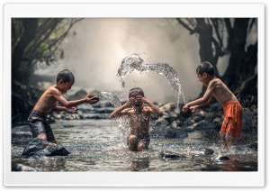 Kids Playing With Water HD Wide Wallpaper for Widescreen