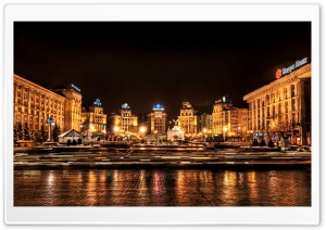 Kiev At Night, Ukraine HD Wide Wallpaper for 4K UHD Widescreen desktop & smartphone