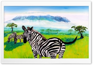 Kilimanjaro Zebra Oil Painting HD Wide Wallpaper for 4K UHD Widescreen desktop & smartphone