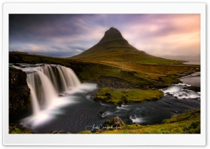 Kirkjufell Mountain and Kirkjufellsfoss Waterfall Scenery Ultra HD Wallpaper for 4K UHD Widescreen desktop, tablet & smartphone