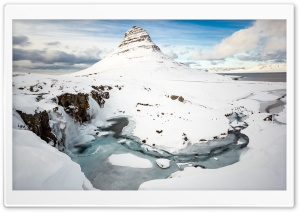Kirkjufell Mountain, Kirkjufellsfoss Waterfall, Winter HD Wide Wallpaper for Widescreen