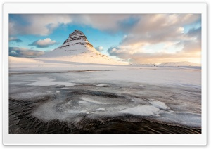 Kirkjufell Mountain Winter, Iceland HD Wide Wallpaper for Widescreen