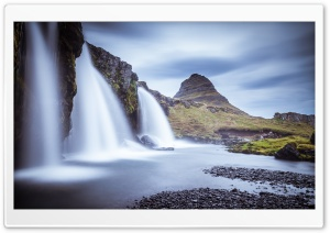 Kirkjufellsfoss waterfall, Kirkjufell, Iceland HD Wide Wallpaper for Widescreen