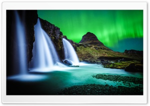 Kirkjufellsfoss waterfall, Kirkjufell, Northern Lights HD Wide Wallpaper for 4K UHD Widescreen desktop & smartphone