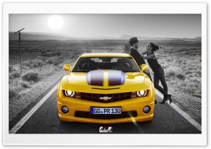 Kiss On Yellow Camaro HD Wide Wallpaper for 4K UHD Widescreen desktop & smartphone