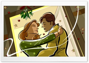 Kissing Under Mistletoe HD Wide Wallpaper for Widescreen