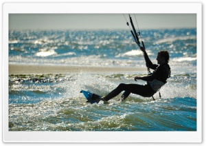 Kite Surfing   Renesse, Zeeland HD Wide Wallpaper for Widescreen