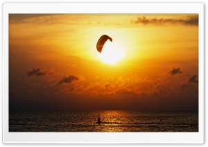Kitesurfing At Sunset HD Wide Wallpaper for Widescreen