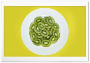 Kiwi Slices on Plate Yellow Background HD Wide Wallpaper for 4K UHD Widescreen desktop & smartphone