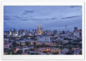 Kuala Lumpur Malaysia City In The Evening HD Wide Wallpaper for 4K UHD Widescreen desktop & smartphone
