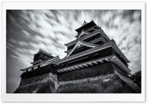 Kumamoto Castle Black and White HD Wide Wallpaper for 4K UHD Widescreen desktop & smartphone