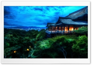 Kyoto, Japan At Night HD Wide Wallpaper for 4K UHD Widescreen desktop & smartphone