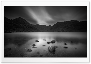 Lake Loch Coruisk, Scotland, Black and White Ultra HD Wallpaper for 4K UHD Widescreen desktop, tablet & smartphone
