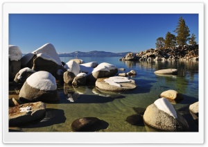 Lake Tahoe Rocks HD Wide Wallpaper for 4K UHD Widescreen desktop & smartphone