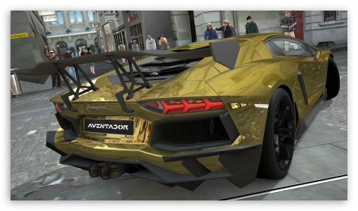 Lamborghini Aventador LP700-4 Gold Chrome, Gran Turismo 5 HD wallpaper for HD 16:9 High Definition WQHD QWXGA 1080p 900p 720p QHD nHD ; UHD 16:9 WQHD QWXGA 1080p 900p 720p QHD nHD ; Mobile 16:9 - WQHD QWXGA 1080p 900p 720p QHD nHD ;