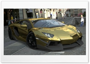 Lamborghini Aventador LP700-4 Gold Chrome, Gran Turismo 5 HD Wide Wallpaper for 4K UHD Widescreen desktop & smartphone