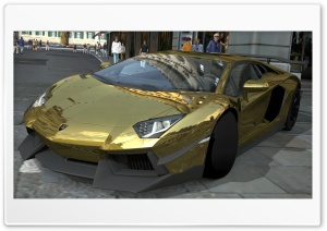 Lamborghini Aventador LP700-4 Gold Chrome, Gran Turismo 5 Ultra HD Wallpaper for 4K UHD Widescreen desktop, tablet & smartphone
