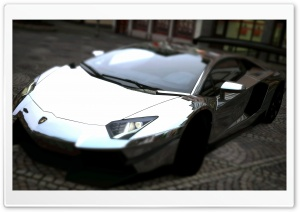 Lamborghini Aventador LP700-4 Silver Chrome HD Wide Wallpaper for Widescreen