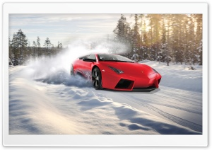 Lamborghini Drifting In Snow HD Wide Wallpaper for 4K UHD Widescreen desktop & smartphone