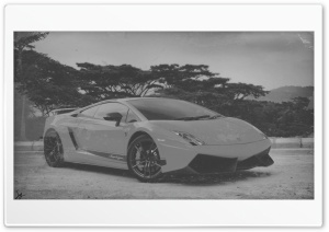 Lamborghini Gallardo WhiteBlack Old Photo HD Wide Wallpaper for 4K UHD Widescreen desktop & smartphone