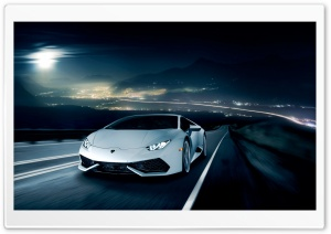 Lamborghini Huracan on the Road at Night HD Wide Wallpaper for Widescreen