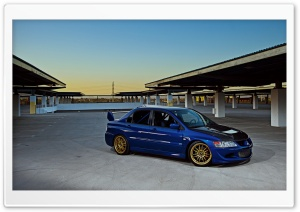 Lancer Evolution Blue Street HD Wide Wallpaper for Widescreen
