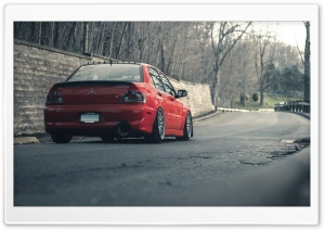 Lancer Evolution Red On The Road HD Wide Wallpaper for Widescreen
