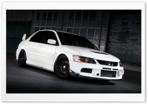 Lancer Evolution White On The Road HD Wide Wallpaper for 4K UHD Widescreen desktop & smartphone