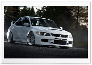 Lancer Evolution White On The Road HD Wide Wallpaper for Widescreen