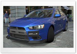 Lancer Evolution X Blue HD Wide Wallpaper for Widescreen