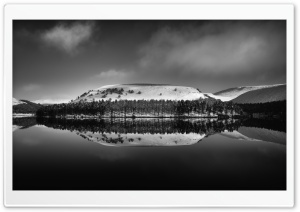 Landscape Water Reflection Black and White HD Wide Wallpaper for 4K UHD Widescreen desktop & smartphone