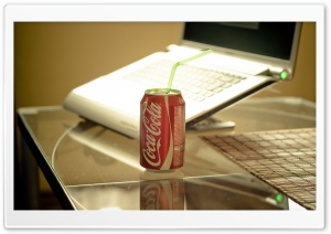 Laptop And Coca Cola HD Wide Wallpaper for Widescreen