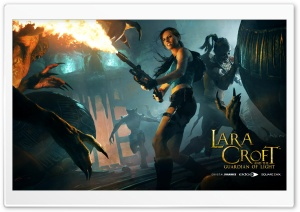 Lara Croft Flamethrower HD Wide Wallpaper for Widescreen