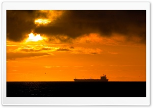 Large Ship In Sunset Light HD Wide Wallpaper for 4K UHD Widescreen desktop & smartphone