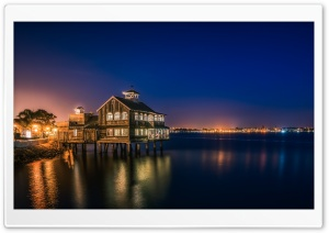 Late Night at the Pier Cafe HD Wide Wallpaper for Widescreen