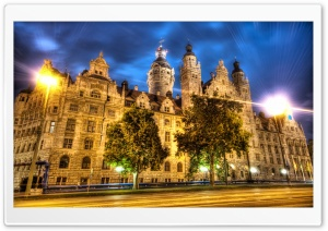Leipzig At Night, HDR HD Wide Wallpaper for 4K UHD Widescreen desktop & smartphone