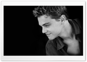 Leonardo Dicaprio Young Black and White HD Wide Wallpaper for Widescreen