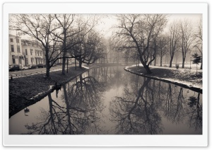Lepelenburg   Maliesingel, Misty Utrecht, Winter HD Wide Wallpaper for Widescreen
