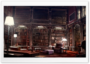 Library Drawing HD Wide Wallpaper for Widescreen