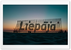 Liepaja beach sign Ultra HD Wallpaper for 4K UHD Widescreen desktop, tablet & smartphone