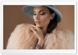 Light Pink Faux Fur Coat, Blue Hat, Woman, Make-up HD Wide Wallpaper for 4K UHD Widescreen desktop & smartphone